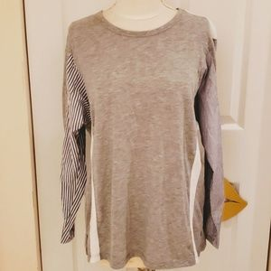 Topshop Mixed Material Grey Long Sleeve Top